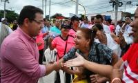 El alcalde de Santa Marta, Rafael Martínez, durante la inauguración de la calle 30, el pasado miércoles en Santa Marta.
