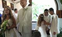 La exalcaldesa y actual Minvivienda, Elsa Noguera, acompañada de su padre al altar y en la ceremonia religiosa.