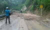 Cerrada la vía a Minca por árboles caídos y lodo sobre la carretera.