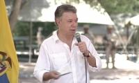 El Presidente Juan Manuel Santos en Pondores, en La Guajira.