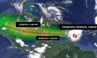 Localización y probable trayectoria de la tormenta Harvey.