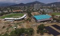 Imagen de la construcción del estadio de sóftbol