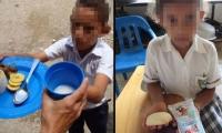 A la izquierda, los almuerzos que les daban a los niños hace tres años en Hobo. A la derecha: las onces que reciben hoy.