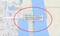 Posición de la embarcación en el puerto de Barranquilla.