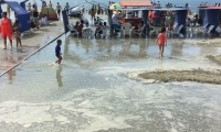 Después del susto los turistas siguieron disfrutando de la playa.