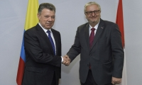 Juan Manuel Santos durante su visita a Austria