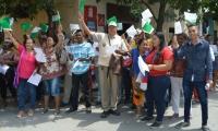Líderes comunales se concentraron frente a la oficina de Legalización de barrios y titulación de predios,
