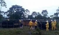 Personal de Ecopetrol atiende la emergencia por nuevo atentado a oleoducto.