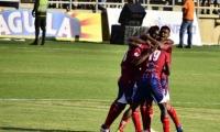 Jugadores del Unión Magdalena celebran un gol ante el Quindío.