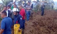 Deslizamiento de tierra que arrasó con escuela rural en Calarcá.