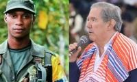 Walter Patricio Arizala, alias 'Guacho' y el Ministro de Defensa, Guillermo Botero.