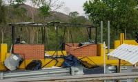 Uno de los peajes en los que detonaron los explosivos.
