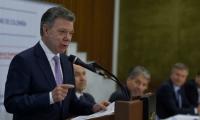 Juan Manuel Santos, durante la reunión con líderes de otras naciones.