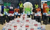 El camión encontrado en el barrio Mamatoco, contenía 7.808 cajetillas de cigarrillos, 300 unidades de elementos de aseo, entre otros artículos.