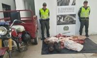 Carne decomisada por la Policía.