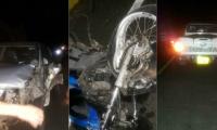 Estado en que quedaron los dos vehículos en el accidente en Sabanalarga.