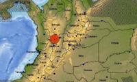 Mapa de la región central de Colombia.