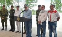 Juan Manuel Santos, presidente, durante su visita a Guaviare.