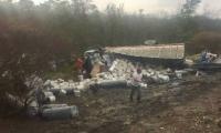 Al parecer la colisión la provocó el mal estado de la carretera por la lluvia.