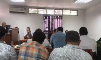 Aspecto de la audiencia desarrollada la mañana de este viernes en el centro de juzgados de Santa Marta.