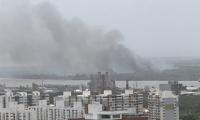 Aspecto del incendio en el Parque Isla Salamanca desde Barranquilla.