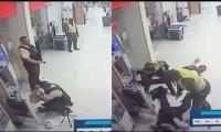Los falsos policías cuando asaltaron a los vigilantes de una empresa de valores cuando abastecían un cajero automático en Sao Hipódromo, en Barranquilla.
