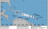 Aspecto del satélite donde muestra el recorrido del huracán Beryl.