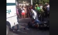Momentos en que unidades de Dijin hacen el levantamiento del cadaver.