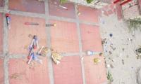Residuos hospitalarios encontrados en el barrio El Jardín.