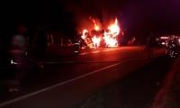 Las llamas acabaron al vehículo que colisionó.