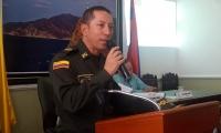 Coronel Gustavo Berdugo, comandante de la Policía Metropolitana durante su comparecencia en la Asamblea.