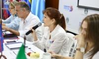 Gobernadora Rosa Cotes durante la reunión de la OCAD Caribe.