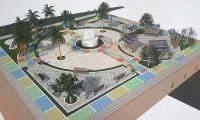 Plaza central de Pijiño. En el centro estará el busto del primer alcalde elegido popularmente en esa población.