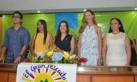 Felipe Montoya de la Fundación Tras la Perla; Estela Cárdenas, líder comunal; Pilar Galvis, de Tras la Perla, Claudia Elena Vásquez, directora ejecutiva de la Fundación Tras la Perla y Ruth Consuelo Chaparro de  Fucai.