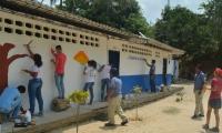 Estudiantes de la vereda Las Tinajas, plasmaron un 'mural para la conservación'.