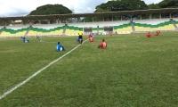 Protesta de jugadores en la previa del partido Orsomarso SC vs Cortuluá.