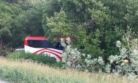 Bus Brasilia que perdió el control en el km 17 vía Barranquilla.