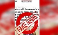 Falsa noticia sobre renuncia al senado del expresidente Uribe Vélez.