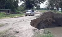 Así está la situación en un punto carreteable Salamina-El Piñón.