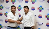 El alcalde electo del municipio de El Banco, Roy García Sánchez, fue recibido en el rector de la Unimagdalena, Pablo Vera Salazar.