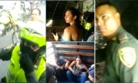 Los comunicadores fueron retenidos por la Policía.