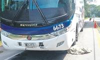 La mujer fue atropellada por un bus afiliado a Expreso Brasilia.