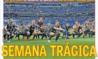 """Los principales diarios deportivos españoles titularon """"Semana Trágica"""" y """"Fin de una era"""" tras la derrota del Real Madrid por 1- 4 ante el Ajax."""
