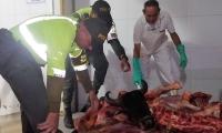 Carne incautada en la Ye de Ciénaga.