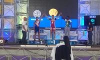 La atleta departamental tuvo que conformarse con el metal  bronceado cuando en la plataforma conquistó la presea de plata.