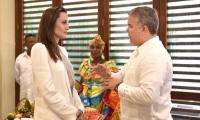 Angelina Jolie en Colombia junto a Iván Duque, presidente de Colombia