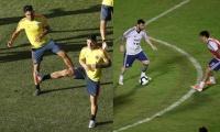 Los jugadores Radamel Falcao (izq) y James Rodríguez (dcha) de la selección de fútbol de Colombia participan en un entrenamiento. En la otra foto Lionel Messi.