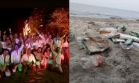 Fiesta de Estefanía Támara, en donde dejaron basura regada por la playa.