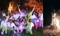 Imagen de la fiesta con fogata que hicieron en playas de Santa Marta.