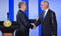 El Presidente Iván Duque, y el del BEI, Wermer Hoyer.